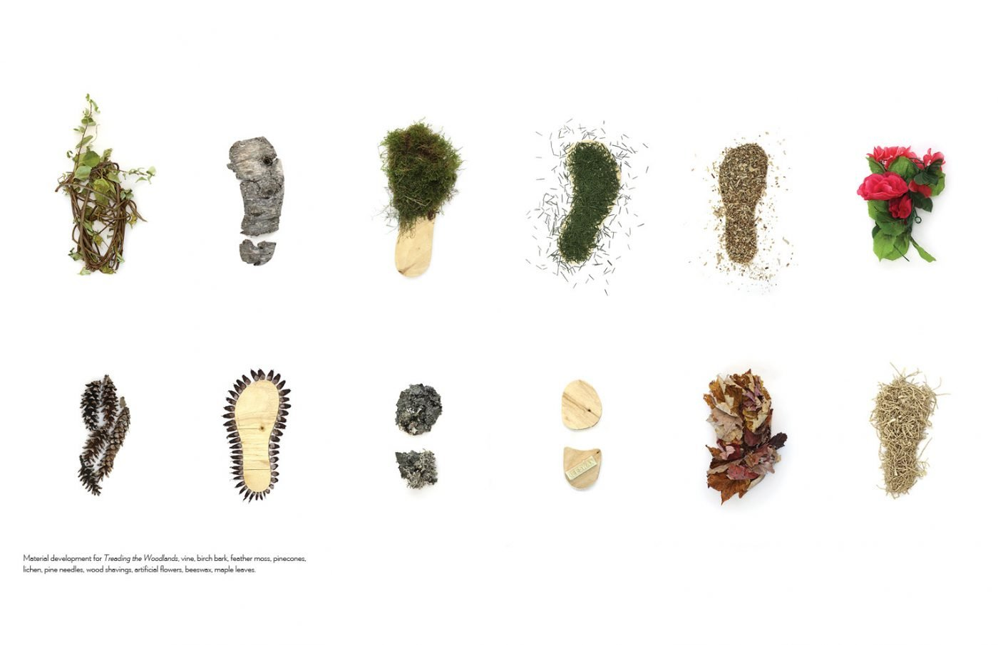 Two rows of six material experiments and combinations, each in the shape of a shoe's sole