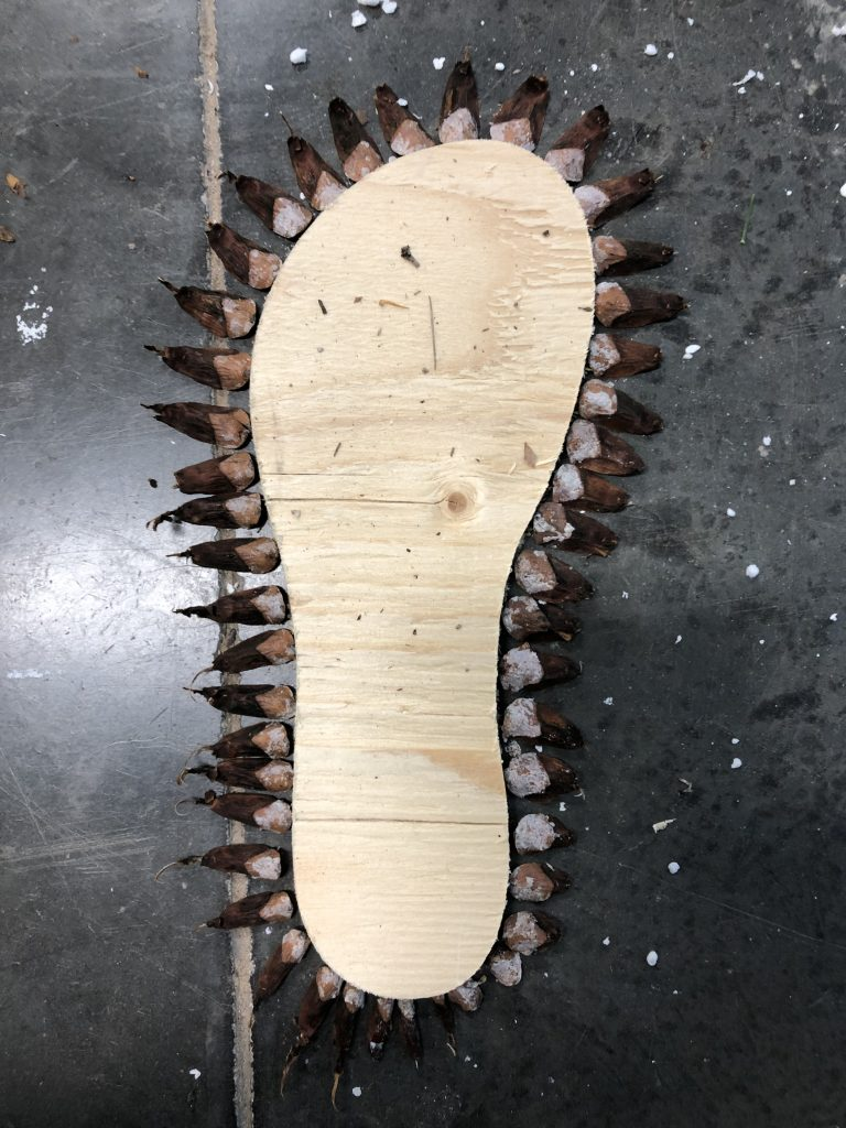 Material experiment and combination of wood and pine cone scales in the shape of a shoe's sole