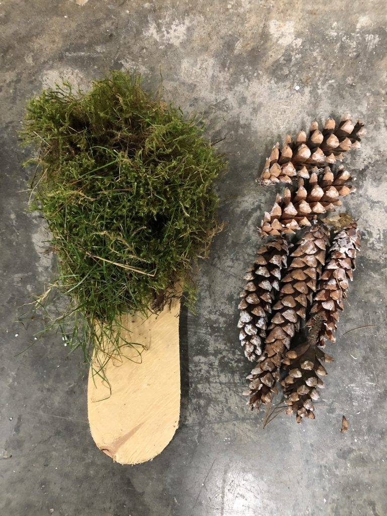 Two material experiments and combinations, the first green feather moss on wood and the second pinecones, each in the shape of a shoe's sole