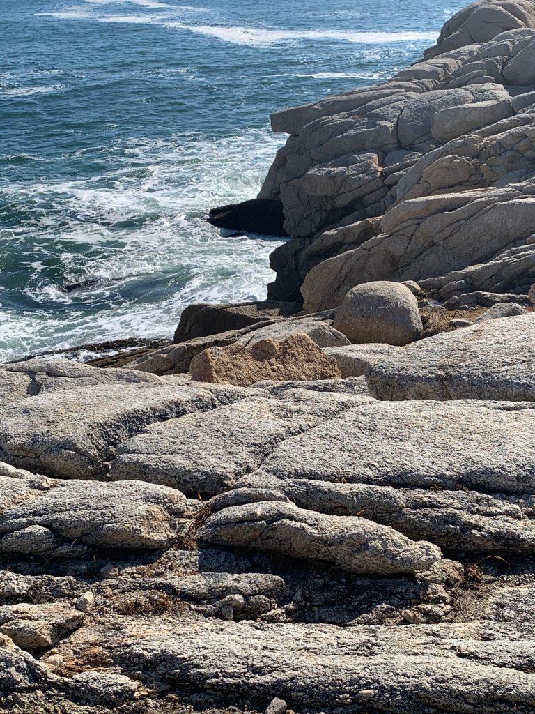 Rocky shore with sea