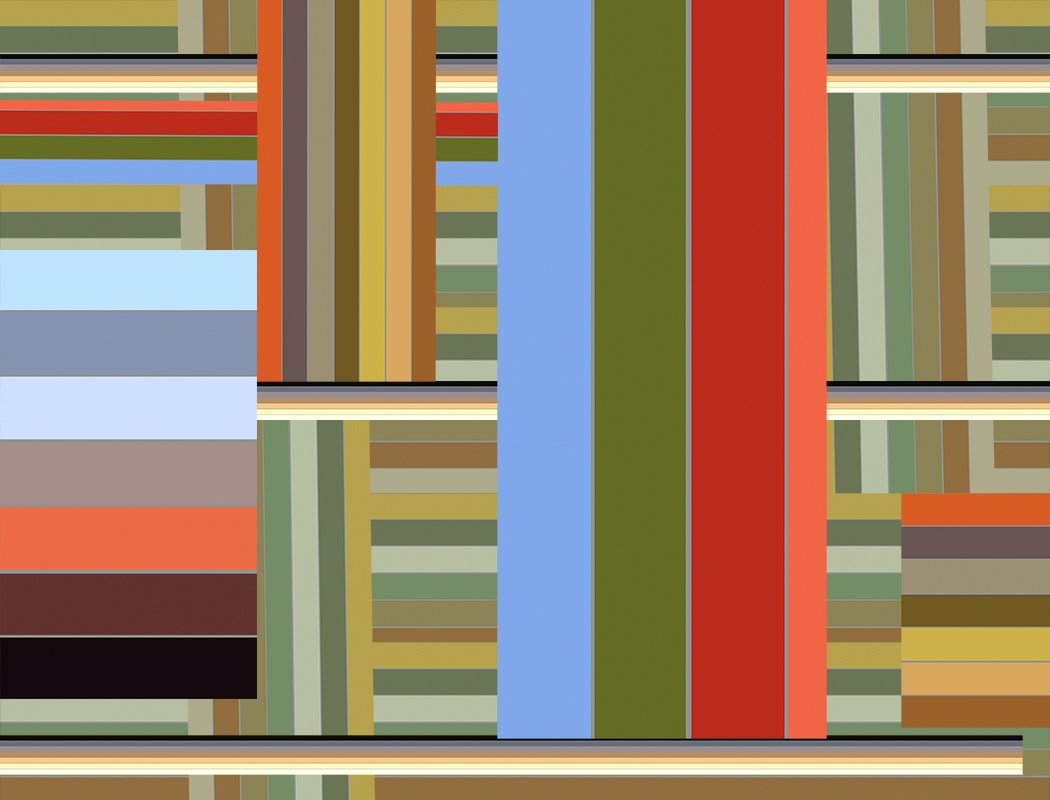 Digital drawing of vertical and horizontal lines of differing sizes and compositions in greens, browns, blues, oranges, creams and yellows