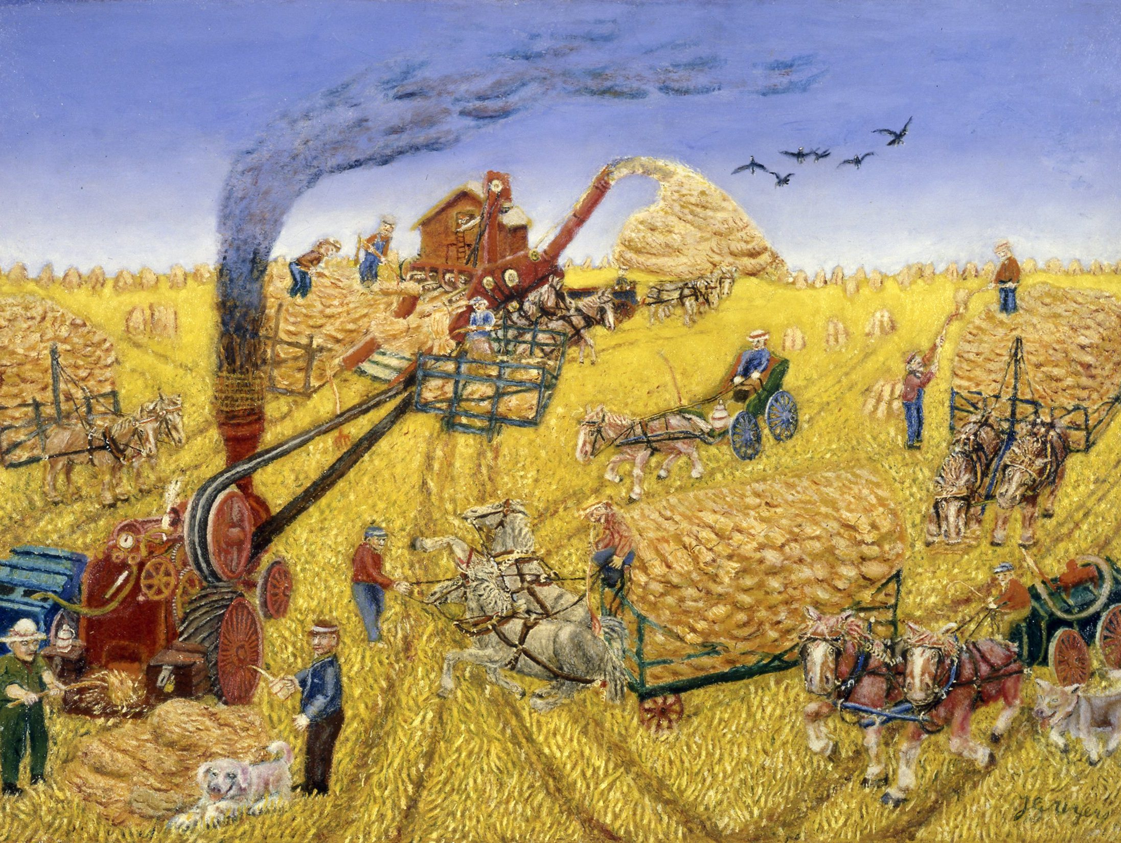 Oil painting on fabric of a rural scene in which crops are being harvested and threshed for grain by humans, horses and machines